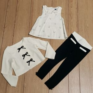 JANIE AND JACK 3-PIECE BLACK AND IVORY OUTFIT